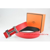 Hermes Red/Black Leather Men/Women Reversible Belt 18k Drawbench Silver H Buckle