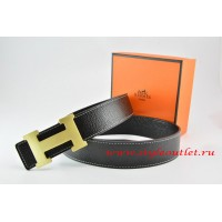 Hermes Black/Black Leather Men/Women Reversible Belt 18k Gold H Buckle