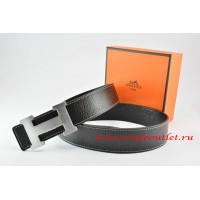 Hermes Black/Black Leather Men/Women Reversible Belt 18k Silver H Buckle