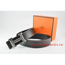 Hermes Black/Black Leather Men/Women Reversible Belt 18k Drawbench Silver H Buckle
