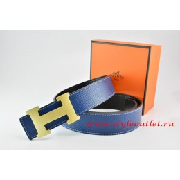 Hermes Dark Blue/Black Leather Men/Women Reversible Belt 18k Gold H Buckle