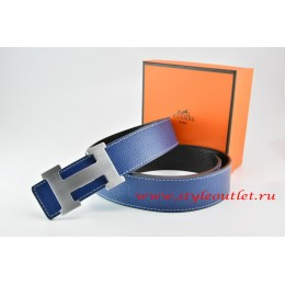 Hermes Dark Blue/Black Leather Men/Women Reversible Belt 18k Silver H Buckle