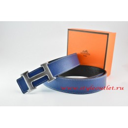 Hermes Dark Blue/Black Leather Men/Women Reversible Belt 18k Drawbench Silver H Buckle