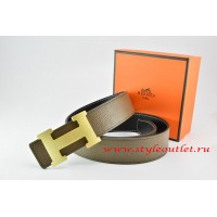 Hermes Light Gray/Black Leather Men/Women Reversible Belt 18k Gold H Buckle