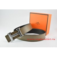 Hermes Light Gray/Black Leather Men/Women Reversible Belt 18k Drawbench Silver H Buckle
