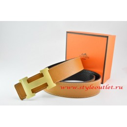 Hermes Light Coffe/Black Leather Men/Women Reversible Belt 18k Gold H Buckle