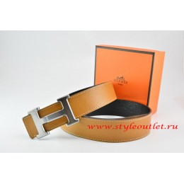Hermes Light Coffe/Black Leather Men/Women Reversible Belt 18k Drawbench Silver H Buckle