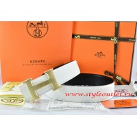 Hermes White/Black Leather Men/Women Reversible Belt 18k Gold H Buckle