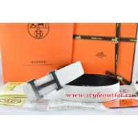 Hermes White/Black Leather Men/Women Reversible Belt 18k Drawbench Silver H Buckle