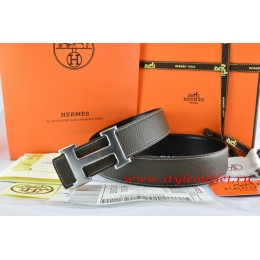 Hermes Brown/Black Leather Men/Women Reversible Belt 18k Drawbench Silver H Buckle