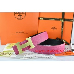 Hermes Pink/Black Leather Men/Women Reversible Belt 18k Gold H Buckle