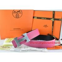 Hermes Pink/Black Leather Men/Women Reversible Belt 18k Silver H Buckle