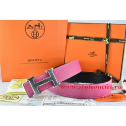Hermes Pink/Black Leather Men/Women Reversible Belt 18k Drawbench Silver H Buckle