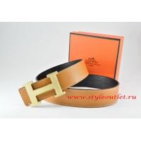 Hermes Light Coffe/Black Leather Men Reversible Belt 18k Silver Wave Stripe H Buckle