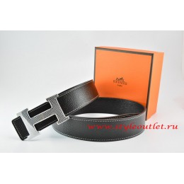 Hermes Black/Black Leather Men Reversible Belt 18k Gold Wave Stripe H Buckle