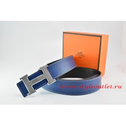 Hermes Dark Blue/Black Leather Men Reversible Belt 18k Gold Wave Stripe H Buckle