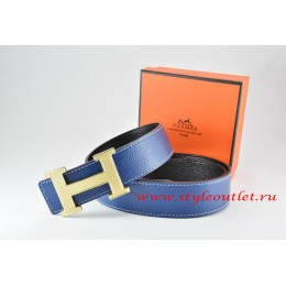 Hermes Dark Blue/Black Leather Men Reversible Belt 18k Silver Wave Stripe H Buckle