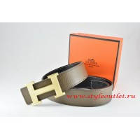 Hermes Light Gray/Black Leather Men Reversible Belt 18k Silver Wave Stripe H Buckle
