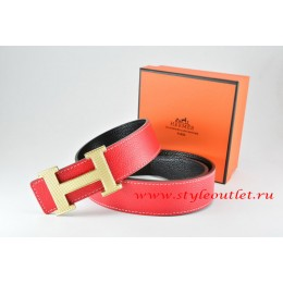 Hermes Red/Black Leather Men Reversible Belt 18k Silver Wave Stripe H Buckle