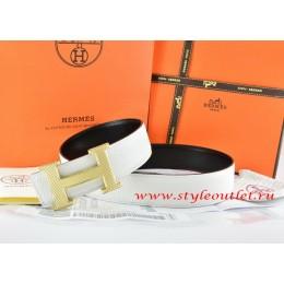 Hermes White/Black Leather Men Reversible Belt 18k Silver Wave Stripe H Buckle
