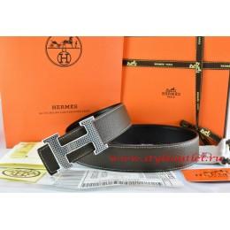Hermes Brown/Black Leather Men Reversible Belt 18k Gold Wave Stripe H Buckle