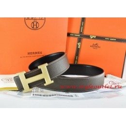 Hermes Brown/Black Leather Men Reversible Belt 18k Silver Wave Stripe H Buckle