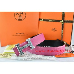 Hermes Pink/Black Leather Men Reversible Belt 18k Gold Wave Stripe H Buckle