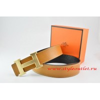 Hermes Light Coffe/Black Leather Men/Women Reversible Belt 18k Drawbench Gold H Buckle