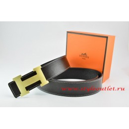 Hermes Black/Black Leather Men/Women Reversible Belt 18k Drawbench Gold H Buckle