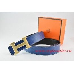 Hermes Dark Blue/Black Leather MenWomen Reversible Belt 18k Drawbench Gold H Buckle