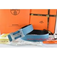 Hermes Blue/Black Leather Men/Women Reversible Belt 18k Silver H Buckle