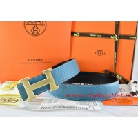 Hermes Blue/Black Leather Men/Women Reversible Belt 18k Drawbench Gold H Buckle