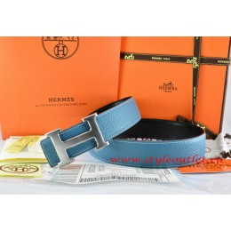Hermes Blue/Black Leather Men/Women Reversible Belt 18k Drawbench Silver H Buckle
