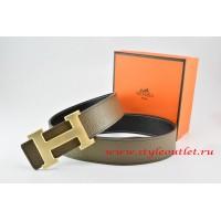 Hermes Light Gray/Black Leather Men/Women Reversible Belt 18k Drawbench Gold H Buckle