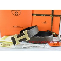 Hermes Brown/Black Leather Men/Women Reversible Belt 18k Drawbench Gold H Buckle