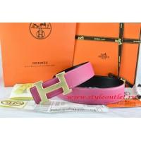 Hermes Pink/Black Leather Men/Women Reversible Belt 18k Drawbench Gold H Buckle