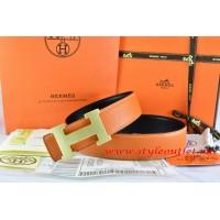Hermes Orange/Black Leather Men/Women Reversible Belt 18k Gold H Buckle