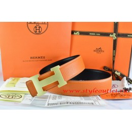 Hermes Orange/Black Leather Men/Women Reversible Belt 18k Gold H Buckle