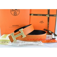 Hermes Orange/Black Leather Men/Women Reversible Belt 18k Drawbench Gold H Buckle