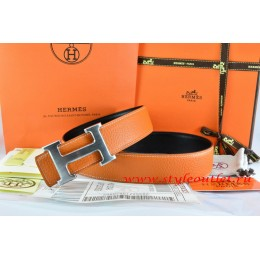 Hermes Orange/Black Leather Men/Women Reversible Belt 18k Drawbench Silver H Buckle
