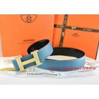 Hermes Blue/Black Leather Men Reversible Belt 18k Gold Wave Stripe H Buckle