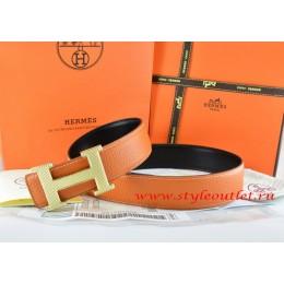 Hermes Orange/Black Leather Men Reversible Belt 18k Gold Wave Stripe H Buckle