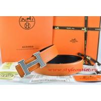 Hermes Orange/Black Leather Men Reversible Belt 18k Silver Wave Stripe H Buckle