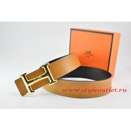 Hermes Light Coffe/Black Leather Men Reversible Belt 18k Gold Smooth H Buckle