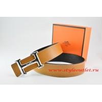 Hermes Light Coffe/Black Leather Men Reversible Belt 18k Silver Smooth H Buckle