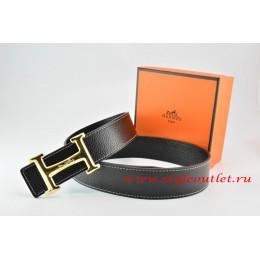 Hermes Black/Black Leather Men Reversible Belt 18k Gold Smooth H Buckle