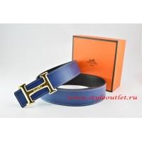 Hermes Dark Blue/Black Leather Men Reversible Belt 18k Gold Smooth H Buckle