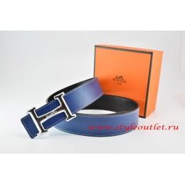 Hermes Dark Blue/Black Leather Men Reversible Belt 18k Silver Smooth H Buckle
