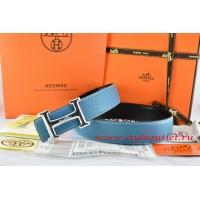 Hermes Blue/Black Leather Men Reversible Belt 18k Silver Smooth H Buckle