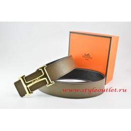 Hermes Light Gray/Black Leather Men Reversible Belt 18k Gold Smooth H Buckle
